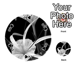 Exotic Black And White Flowers Playing Cards 54 (round)  by timelessartoncanvas