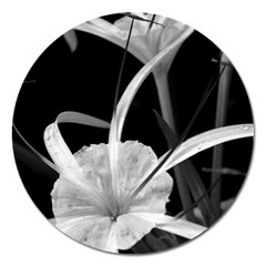 Exotic Black and White Flowers Magnet 5  (Round) by timelessartoncanvas