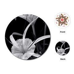 Exotic Black And White Flowers Playing Cards (round)  by timelessartoncanvas