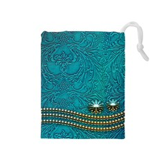Wonderful Decorative Design With Floral Elements Drawstring Pouches (medium)  by FantasyWorld7