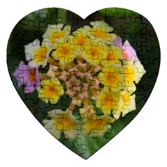Colorful Flowers Jigsaw Puzzle (heart) by timelessartoncanvas