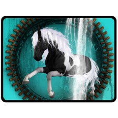 Beautiful Horse With Water Splash  Fleece Blanket (large)  by FantasyWorld7