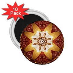 Elegant, Decorative Kaleidoskop In Gold And Red 2 25  Magnets (10 Pack)  by FantasyWorld7