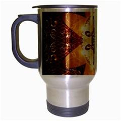Elegant, Decorative Kaleidoskop In Gold And Red Travel Mug (silver Gray) by FantasyWorld7