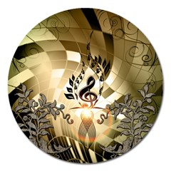 Clef With  And Floral Elements Magnet 5  (round) by FantasyWorld7