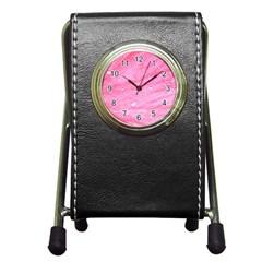 Pink Pen Holder Desk Clocks by timelessartoncanvas