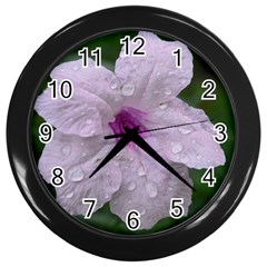 Pink Purple Flowers Wall Clocks (black) by timelessartoncanvas