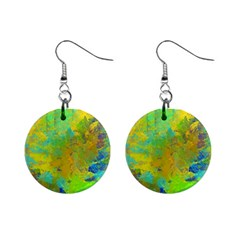 Abstract In Blue, Green, Copper, And Gold Mini Button Earrings by theunrulyartist
