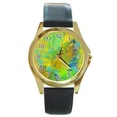 Abstract In Blue, Green, Copper, And Gold Round Gold Metal Watches by theunrulyartist