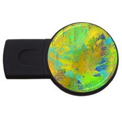 Abstract In Blue, Green, Copper, And Gold Usb Flash Drive Round (2 Gb)  by theunrulyartist