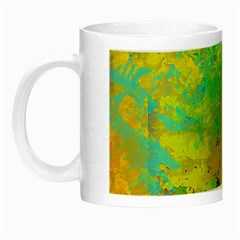 Abstract In Blue, Green, Copper, And Gold Night Luminous Mugs by theunrulyartist