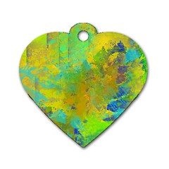 Abstract In Blue, Green, Copper, And Gold Dog Tag Heart (one Side) by theunrulyartist