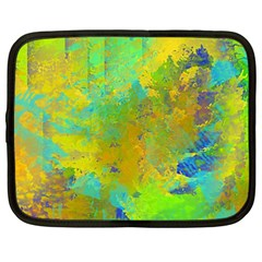 Abstract In Blue, Green, Copper, And Gold Netbook Case (xxl)  by theunrulyartist