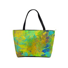 Abstract In Blue, Green, Copper, And Gold Shoulder Handbags by theunrulyartist