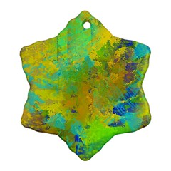 Abstract In Blue, Green, Copper, And Gold Ornament (snowflake)  by theunrulyartist