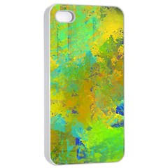 Abstract In Blue, Green, Copper, And Gold Apple Iphone 4/4s Seamless Case (white) by theunrulyartist
