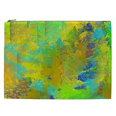 Abstract In Blue, Green, Copper, And Gold Cosmetic Bag (xxl)  by theunrulyartist