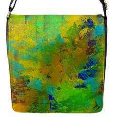 Abstract In Blue, Green, Copper, And Gold Flap Messenger Bag (s) by theunrulyartist