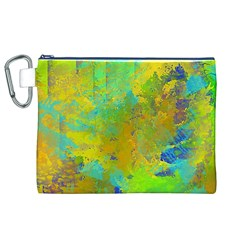Abstract In Blue, Green, Copper, And Gold Canvas Cosmetic Bag (xl)  by theunrulyartist
