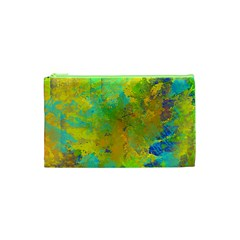 Abstract In Blue, Green, Copper, And Gold Cosmetic Bag (xs) by theunrulyartist