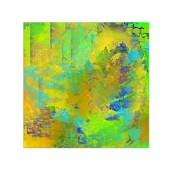 Abstract In Blue, Green, Copper, And Gold Small Satin Scarf (square)  by theunrulyartist