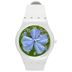 Blue Water Droplets Round Plastic Sport Watch (m) by timelessartoncanvas
