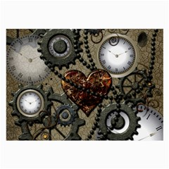 Steampunk With Heart Large Glasses Cloth (2 Side) by FantasyWorld7