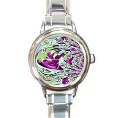 Purple, Green, And Blue Abstract Round Italian Charm Watches by theunrulyartist