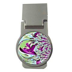 Purple, Green, And Blue Abstract Money Clips (round)  by theunrulyartist