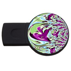 Purple, Green, And Blue Abstract Usb Flash Drive Round (4 Gb)  by theunrulyartist