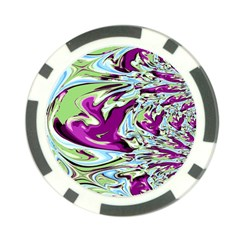 Purple, Green, and Blue Abstract Poker Chip Card Guards by theunrulyartist