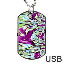 Purple, Green, And Blue Abstract Dog Tag Usb Flash (one Side) by theunrulyartist