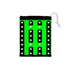 Florescent Green Black Polka Dot  Drawstring Pouches (small)  by OCDesignss