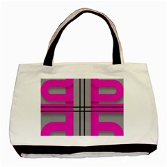 Florescent Pink Grey Abstract  Basic Tote Bag  by OCDesignss
