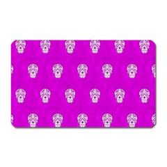 Skull Pattern Hot Pink Magnet (rectangular) by MoreColorsinLife