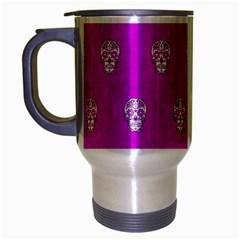 Skull Pattern Hot Pink Travel Mug (silver Gray) by MoreColorsinLife