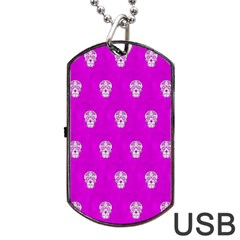 Skull Pattern Hot Pink Dog Tag Usb Flash (two Sides)  by MoreColorsinLife