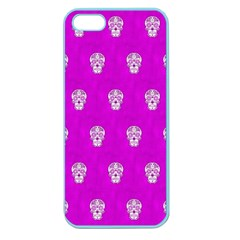Skull Pattern Hot Pink Apple Seamless Iphone 5 Case (color) by MoreColorsinLife