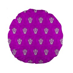 Skull Pattern Hot Pink Standard 15  Premium Round Cushions by MoreColorsinLife