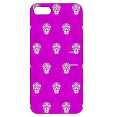 Skull Pattern Hot Pink Apple Iphone 5 Hardshell Case With Stand by MoreColorsinLife