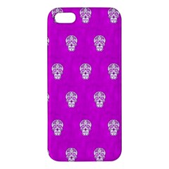 Skull Pattern Hot Pink Iphone 5s Premium Hardshell Case by MoreColorsinLife