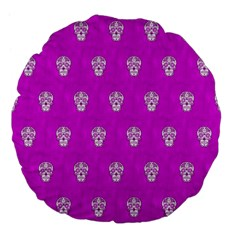 Skull Pattern Hot Pink Large 18  Premium Flano Round Cushions by MoreColorsinLife