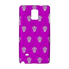 Skull Pattern Hot Pink Samsung Galaxy Note 4 Hardshell Case by MoreColorsinLife