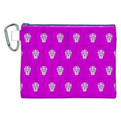 Skull Pattern Hot Pink Canvas Cosmetic Bag (xxl)  by MoreColorsinLife