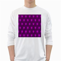 Skull Pattern Purple White Long Sleeve T Shirts by MoreColorsinLife