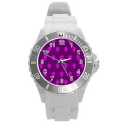 Skull Pattern Purple Round Plastic Sport Watch (l) by MoreColorsinLife