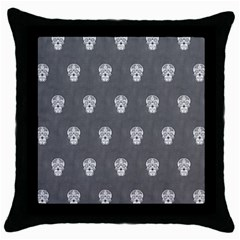 Skull Pattern Silver Throw Pillow Cases (black) by MoreColorsinLife