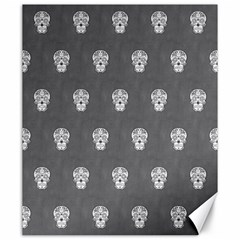 Skull Pattern Silver Canvas 20  X 24   by MoreColorsinLife