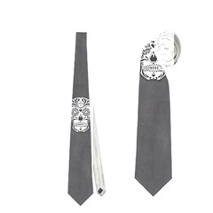 Skull Pattern Silver Neckties (Two Side)  by MoreColorsinLife