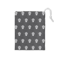 Skull Pattern Silver Drawstring Pouches (medium)  by MoreColorsinLife